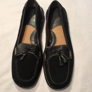 Born Black Leather And Suede Tassels Loafer Sz 8